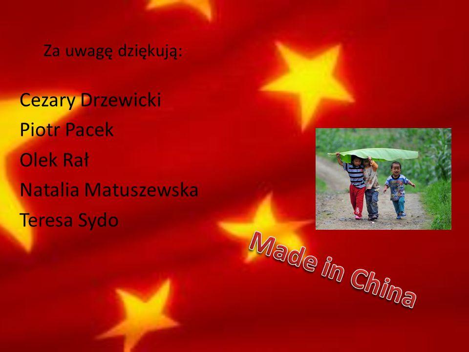 Za uwagę dziękują: Cezary Drzewicki Piotr Pacek Olek Rał Natalia Matuszewska Teresa Sydo Made in China.