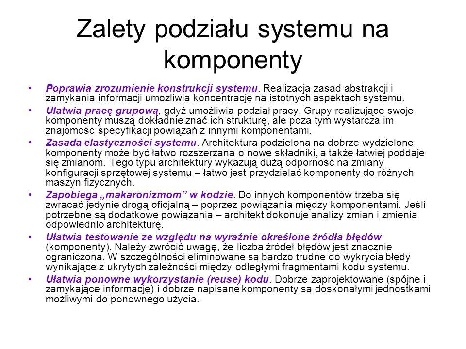 Zalety podziału systemu na komponenty
