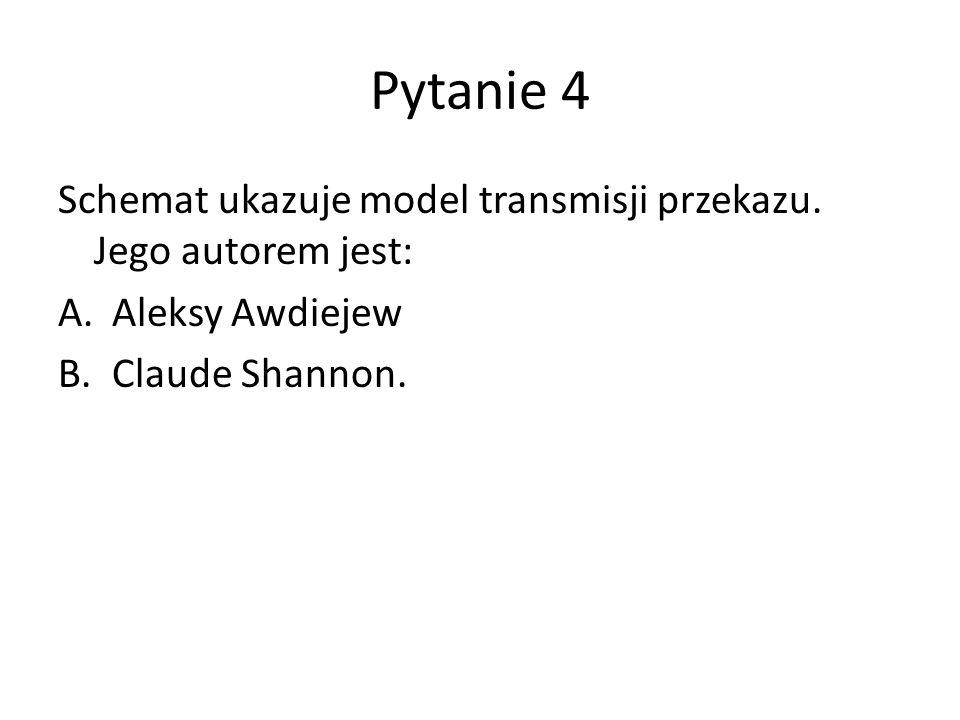 Pytanie 4 Schemat ukazuje model transmisji przekazu.