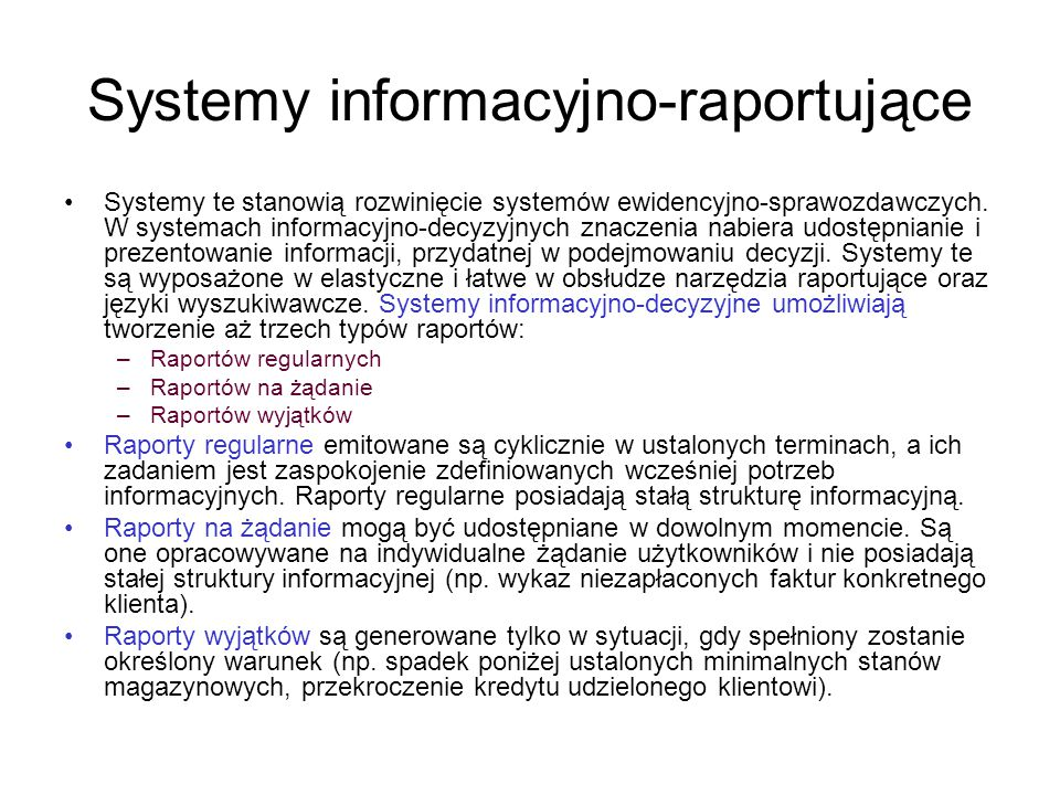 Systemy informacyjno-raportujące