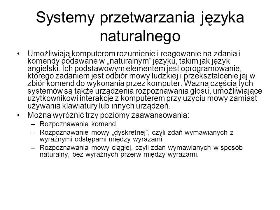 Systemy przetwarzania języka naturalnego