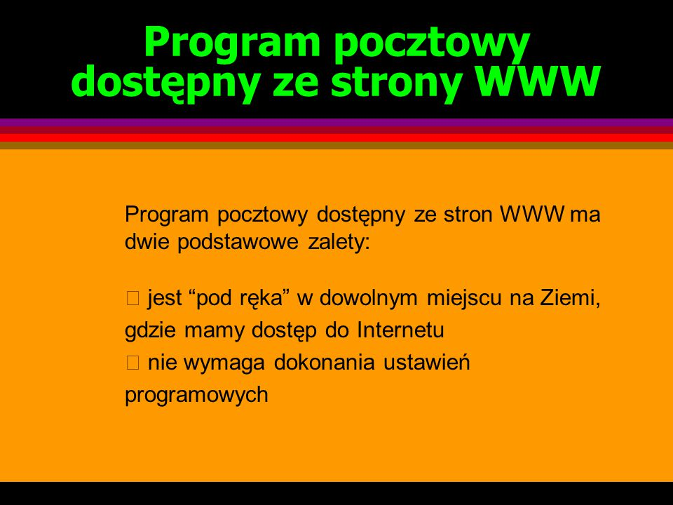 Program pocztowy dostępny ze strony WWW