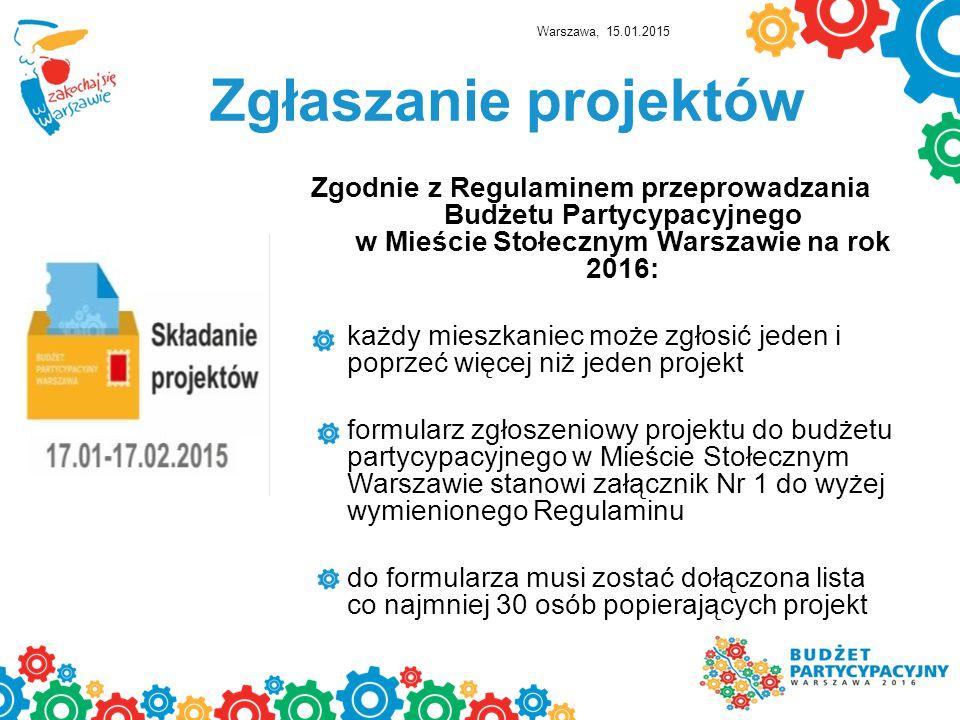 Warszawa, 15.01.2015 Zgłaszanie projektów.