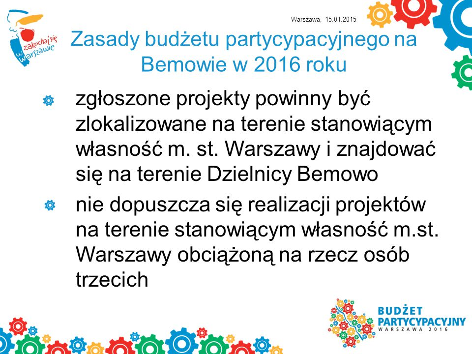 Zasady budżetu partycypacyjnego na Bemowie w 2016 roku
