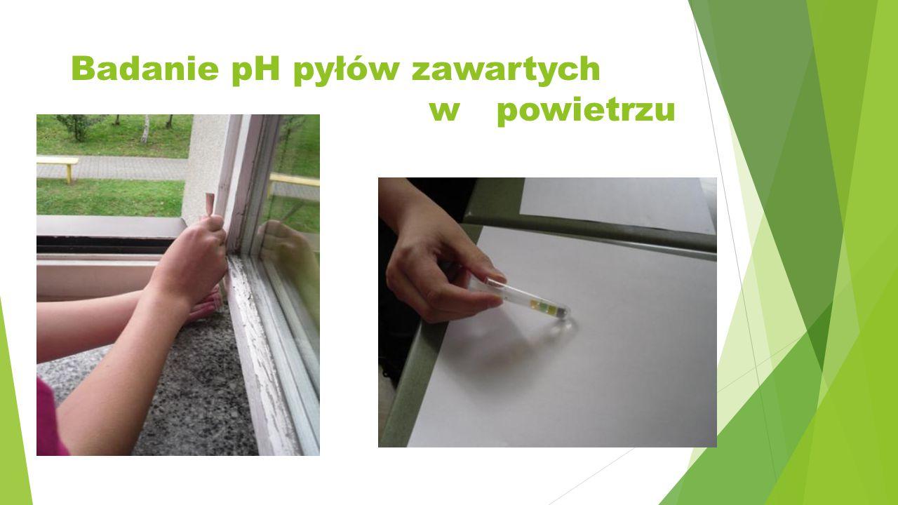 Badanie pH pyłów zawartych w powietrzu