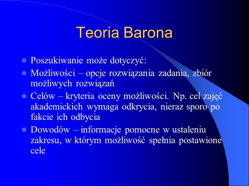 Teoria Barona Poszukiwanie może dotyczyć: