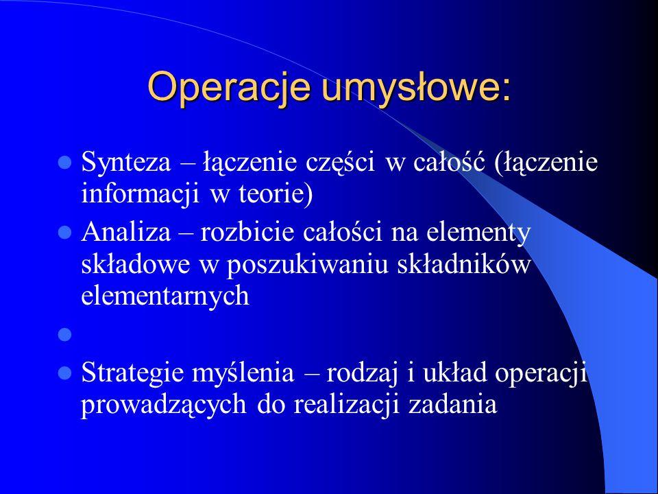 Operacje umysłowe: Synteza – łączenie części w całość (łączenie informacji w teorie)