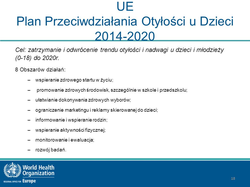 UE Plan Przeciwdziałania Otyłości u Dzieci 2014-2020