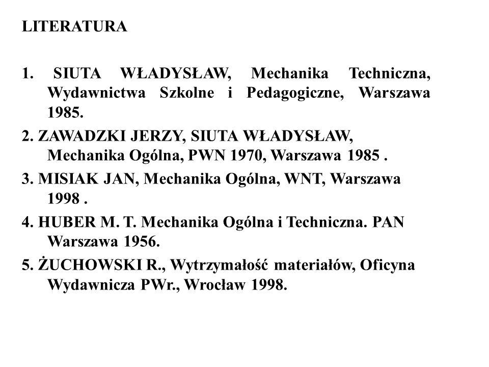 LITERATURA 1. SIUTA WŁADYSŁAW, Mechanika Techniczna, Wydawnictwa Szkolne i Pedagogiczne, Warszawa 1985.