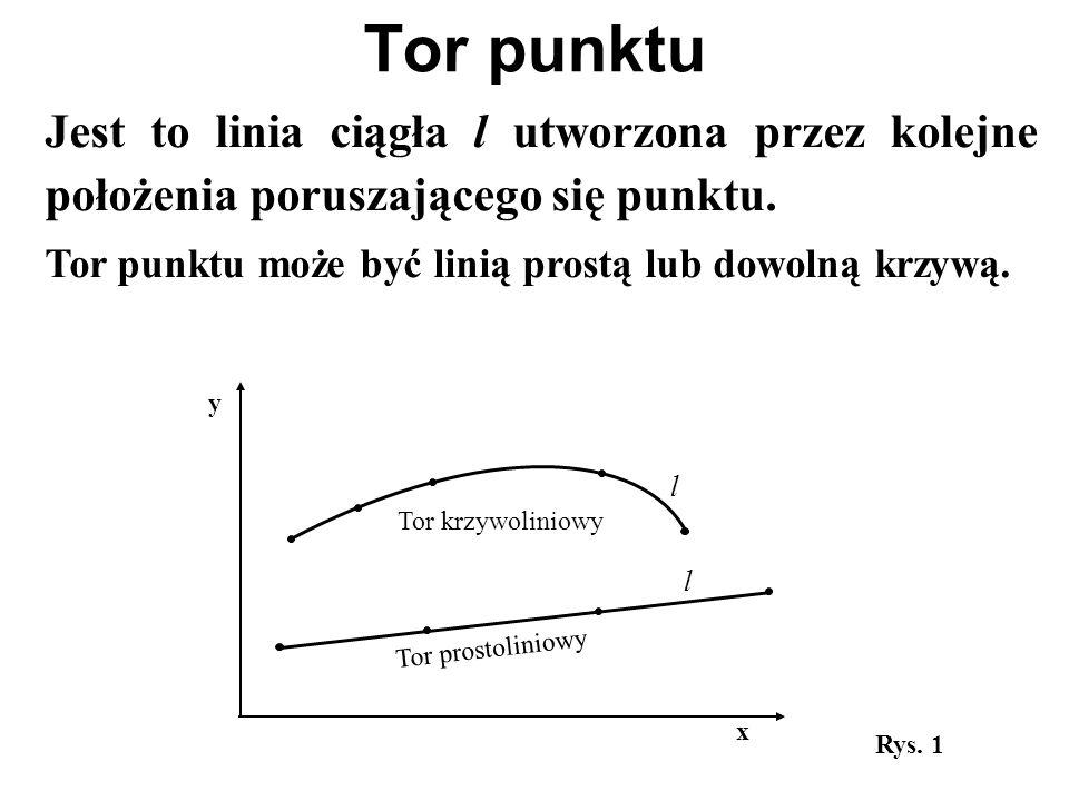 Tor punktu Jest to linia ciągła l utworzona przez kolejne położenia poruszającego się punktu. Tor punktu może być linią prostą lub dowolną krzywą.