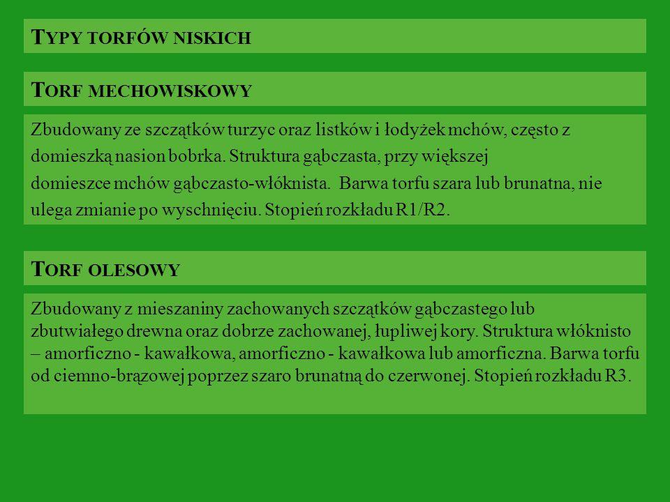 Typy torfów niskich Torf mechowiskowy Torf olesowy