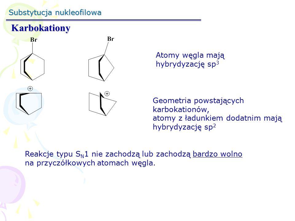 Karbokationy Substytucja nukleofilowa Atomy węgla mają
