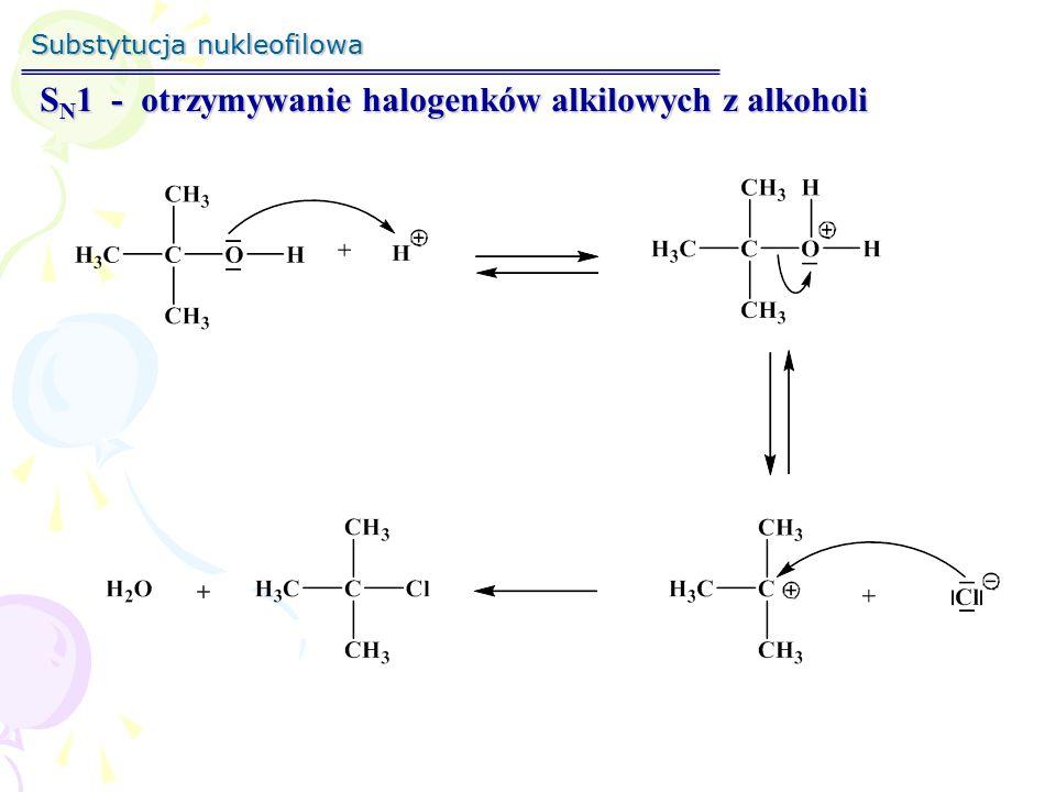 SN1 - otrzymywanie halogenków alkilowych z alkoholi