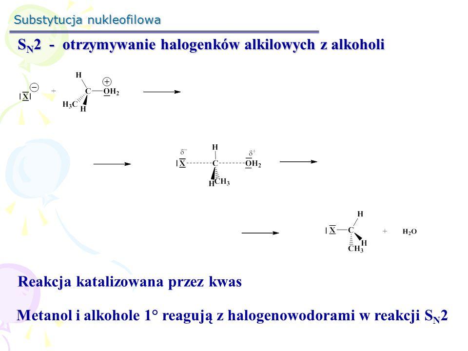 SN2 - otrzymywanie halogenków alkilowych z alkoholi