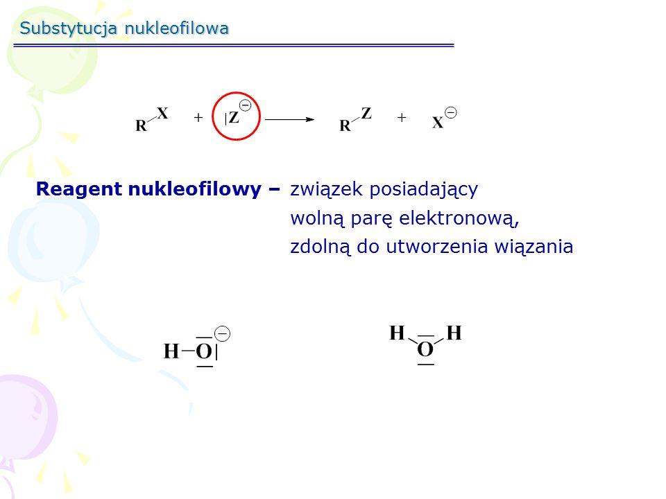 Reagent nukleofilowy – związek posiadający wolną parę elektronową,