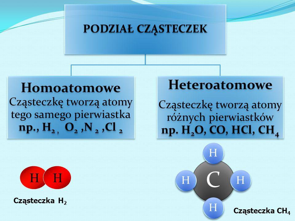 Cząsteczkę tworzą atomy różnych pierwiastków np. H2O, CO, HCl, CH4