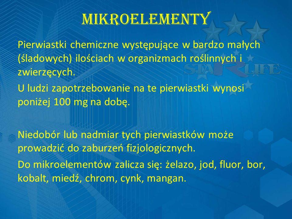 MIKROELEMENTY Pierwiastki chemiczne występujące w bardzo małych (śladowych) ilościach w organizmach roślinnych i zwierzęcych.