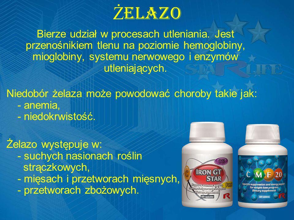 ŻELAZO Bierze udział w procesach utleniania. Jest przenośnikiem tlenu na poziomie hemoglobiny, mioglobiny, systemu nerwowego i enzymów utleniających.