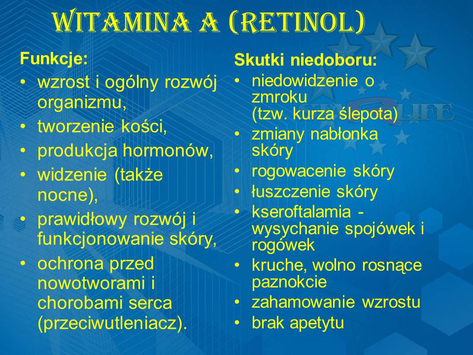 Witamina A (Retinol) wzrost i ogólny rozwój organizmu,