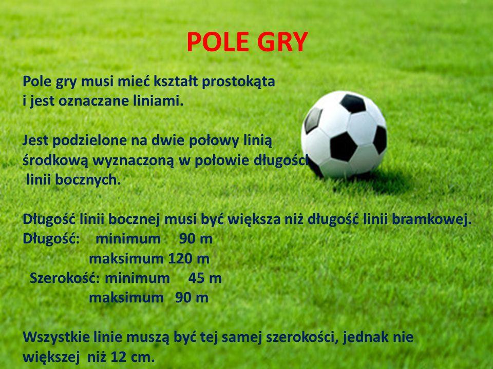 POLE GRY Pole gry musi mieć kształt prostokąta i jest oznaczane liniami.
