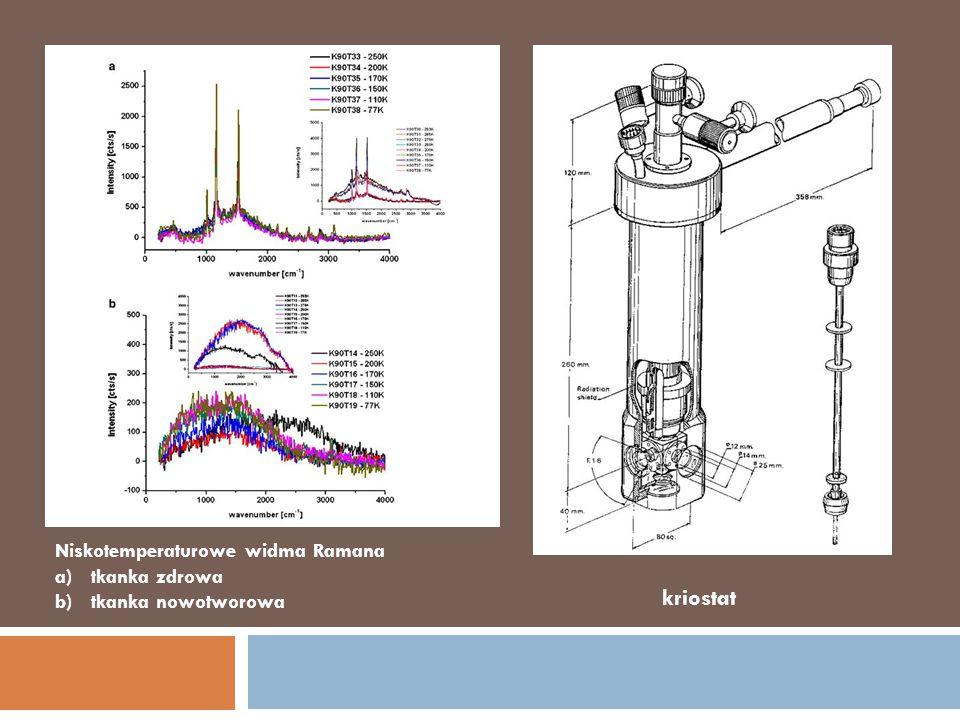 kriostat Niskotemperaturowe widma Ramana tkanka zdrowa
