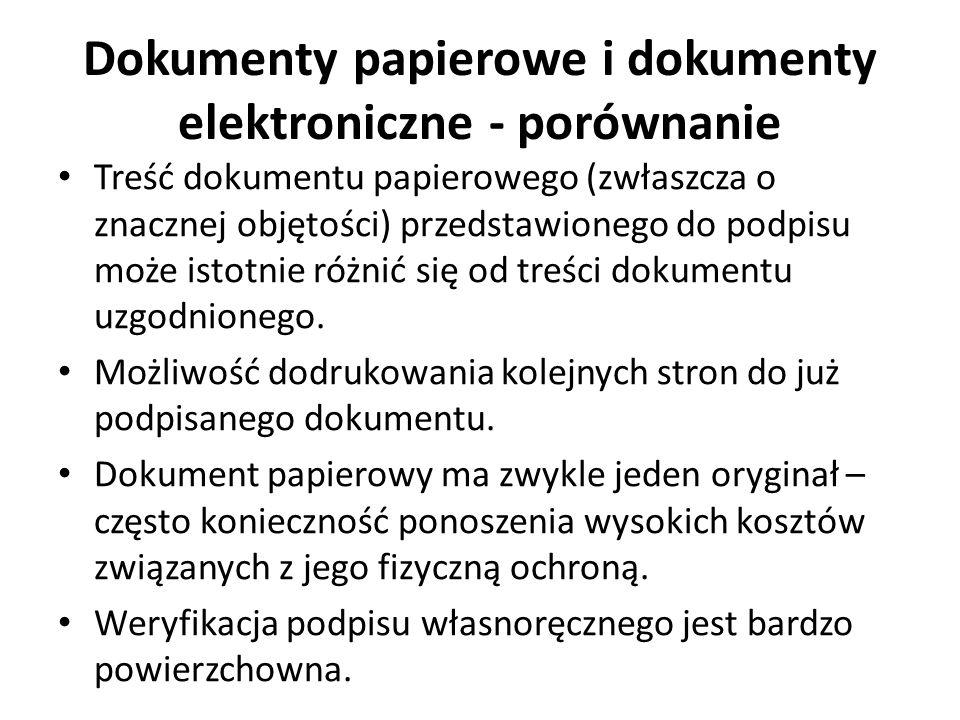 Dokumenty papierowe i dokumenty elektroniczne - porównanie