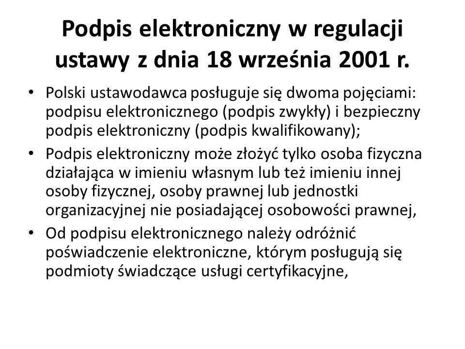 Podpis elektroniczny w regulacji ustawy z dnia 18 września 2001 r.
