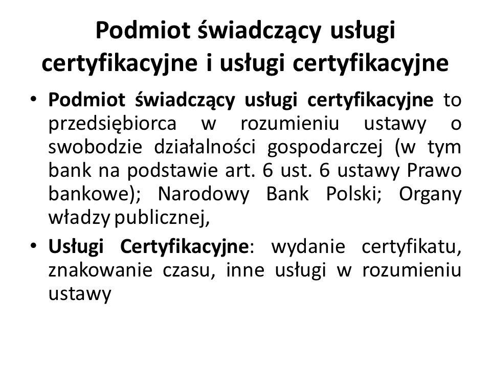 Podmiot świadczący usługi certyfikacyjne i usługi certyfikacyjne
