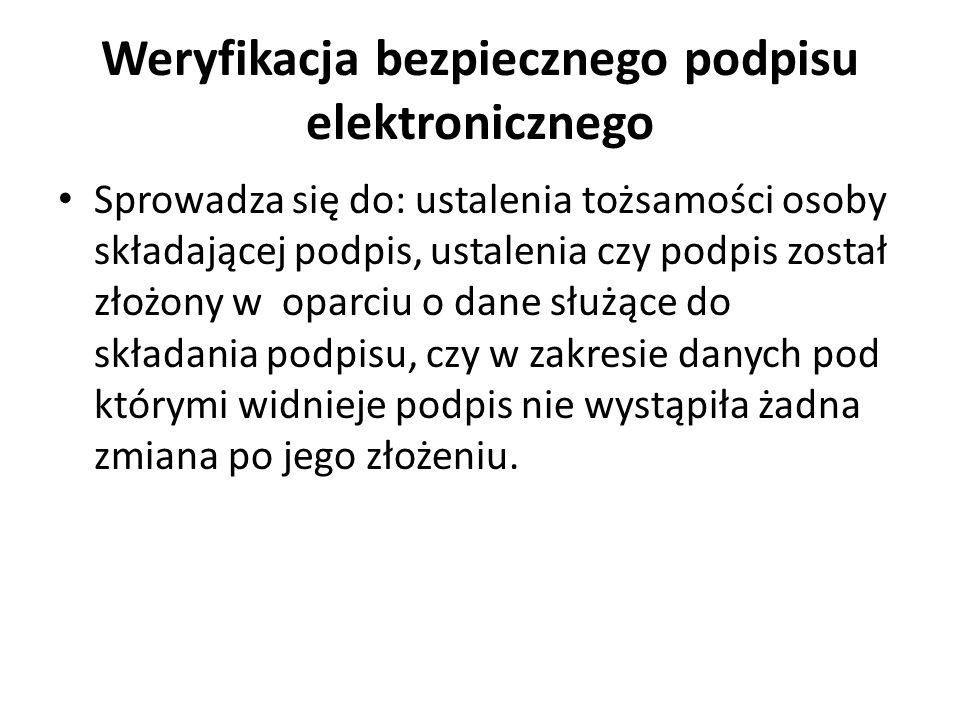 Weryfikacja bezpiecznego podpisu elektronicznego