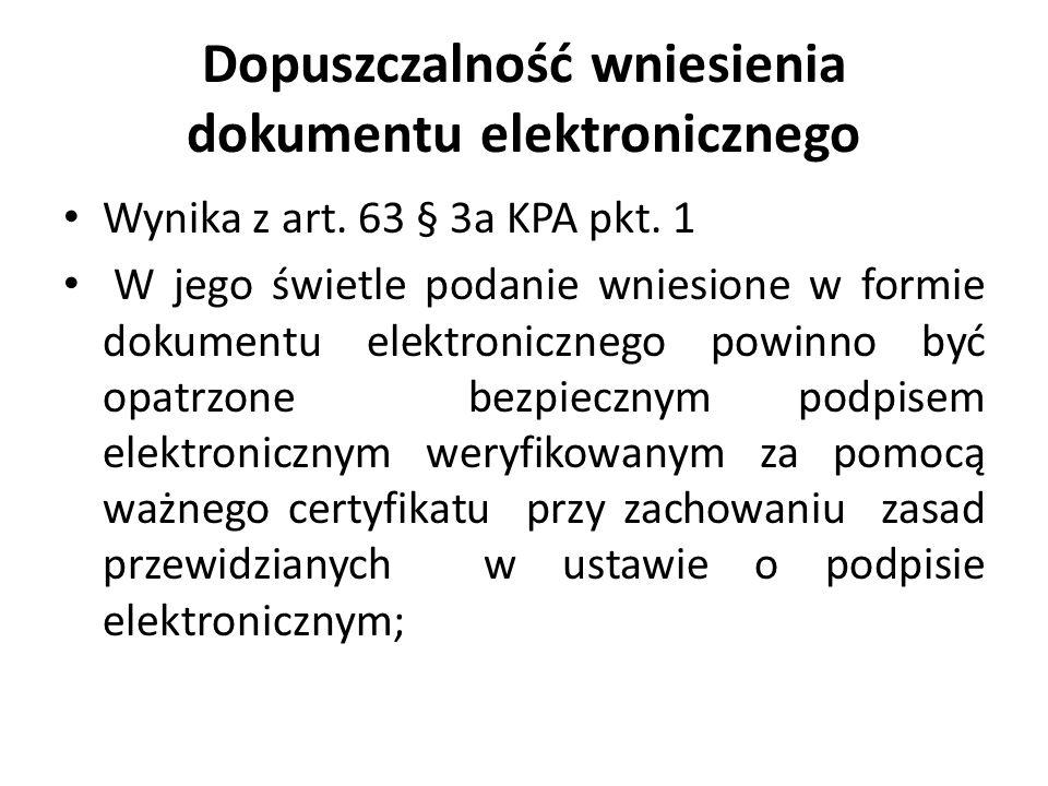 Dopuszczalność wniesienia dokumentu elektronicznego
