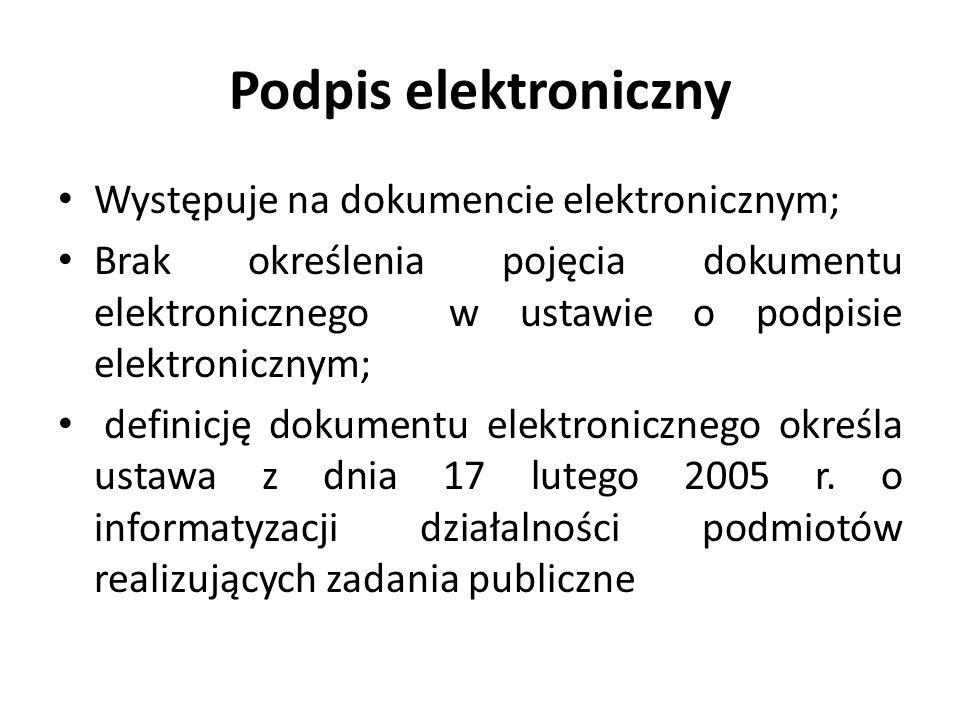 Podpis elektroniczny Występuje na dokumencie elektronicznym;