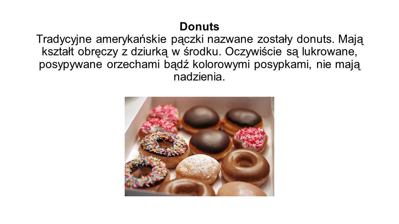 Donuts Tradycyjne amerykańskie pączki nazwane zostały donuts