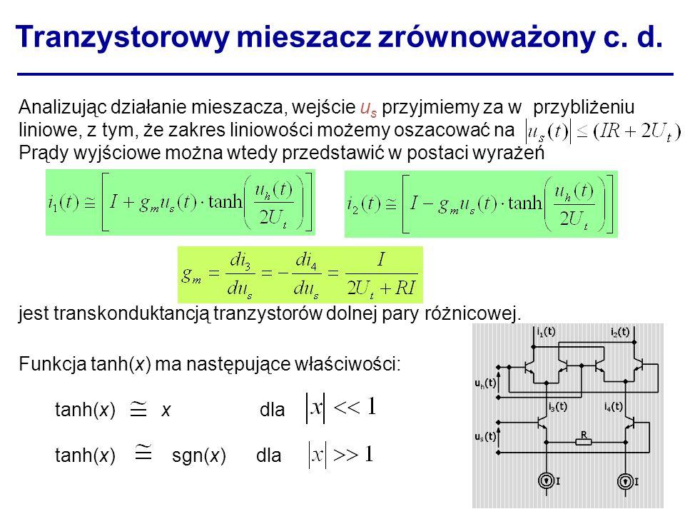 Tranzystorowy mieszacz zrównoważony c. d.