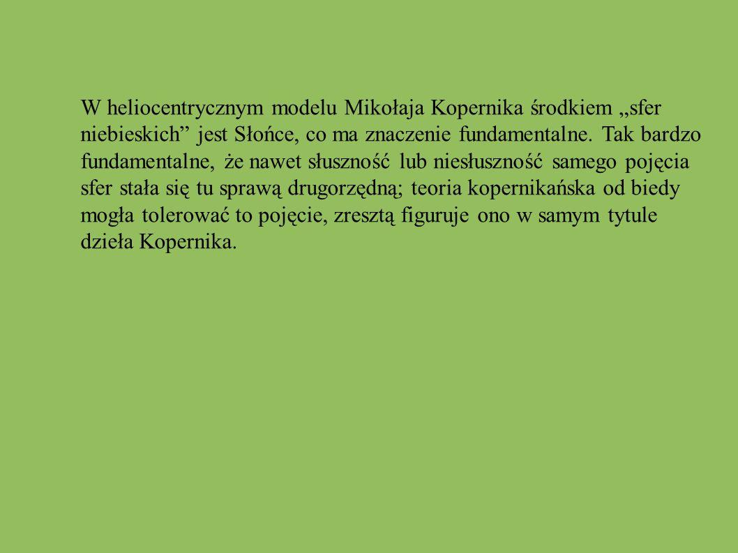 """W heliocentrycznym modelu Mikołaja Kopernika środkiem """"sfer"""