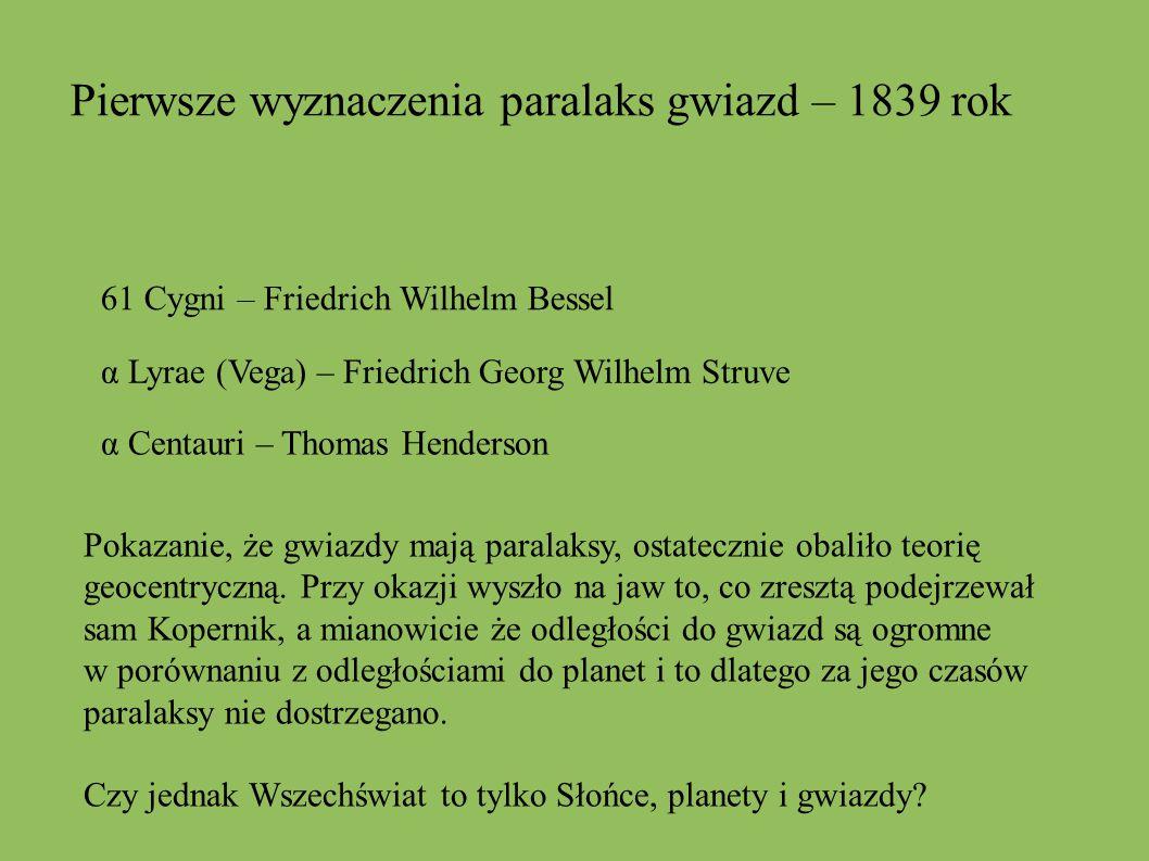 Pierwsze wyznaczenia paralaks gwiazd – 1839 rok