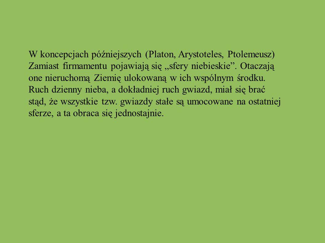 W koncepcjach późniejszych (Platon, Arystoteles, Ptolemeusz)