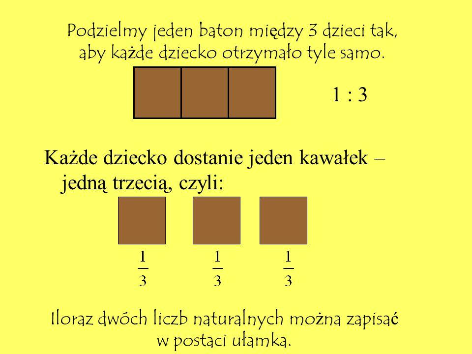 Iloraz dwóch liczb naturalnych można zapisać w postaci ułamka.