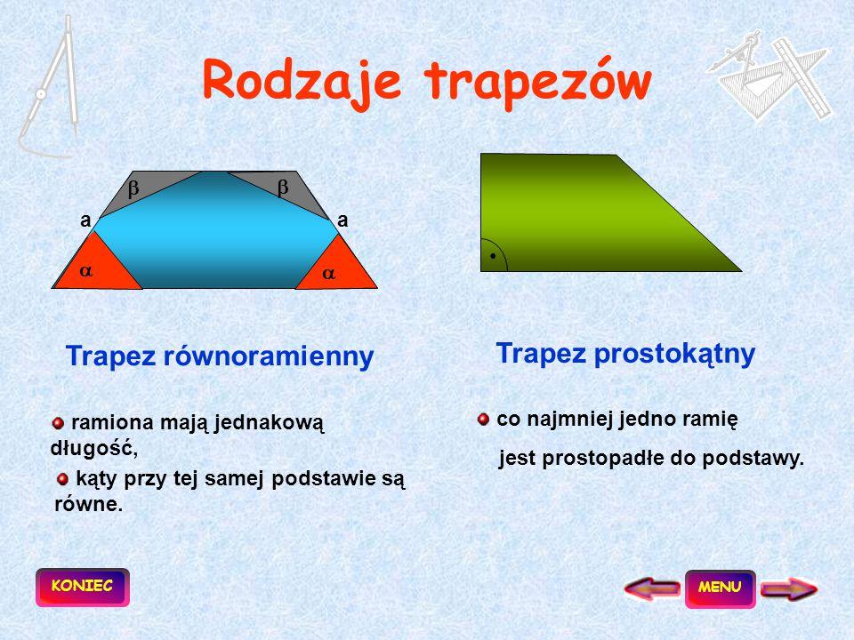 Rodzaje trapezów Trapez równoramienny Trapez prostokątny   a a   •
