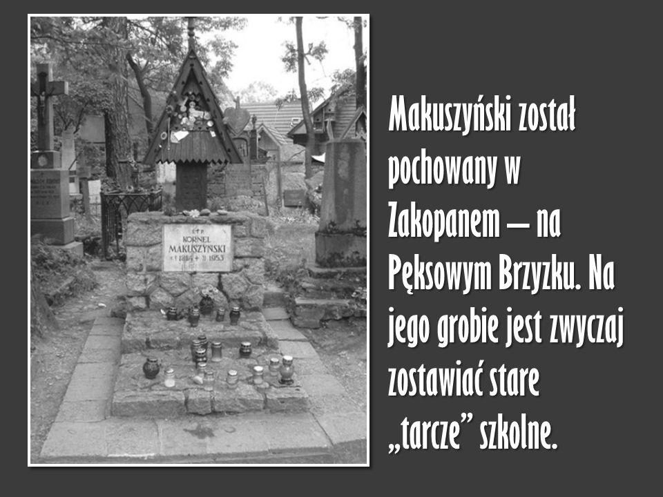 Makuszyński został pochowany w Zakopanem – na Pęksowym Brzyzku