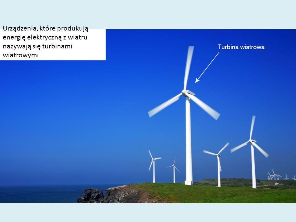 Urządzenia, które produkują energię elektryczną z wiatru nazywają się turbinami wiatrowymi