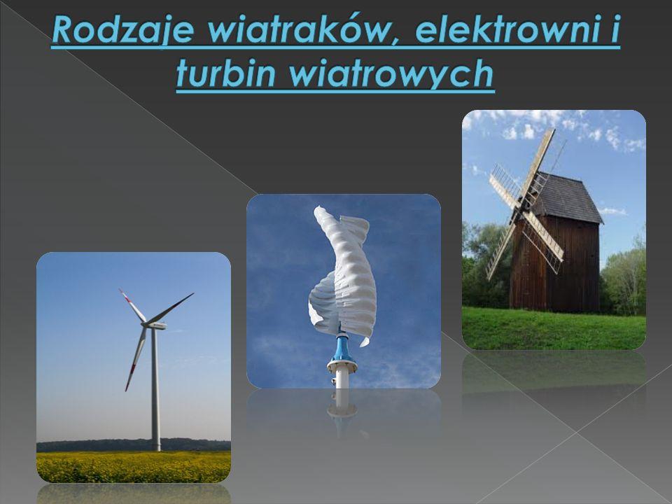 Rodzaje wiatraków, elektrowni i turbin wiatrowych