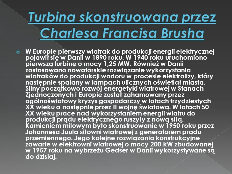 Turbina skonstruowana przez Charlesa Francisa Brusha