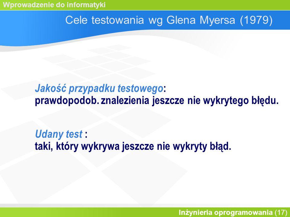 Cele testowania wg Glena Myersa (1979)