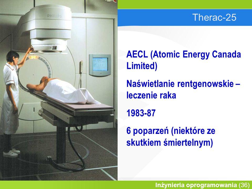 Therac-25 AECL (Atomic Energy Canada Limited) Naświetlanie rentgenowskie – leczenie raka. 1983-87.