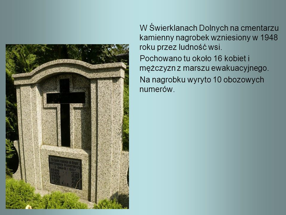 W Świerklanach Dolnych na cmentarzu kamienny nagrobek wzniesiony w 1948 roku przez ludność wsi.