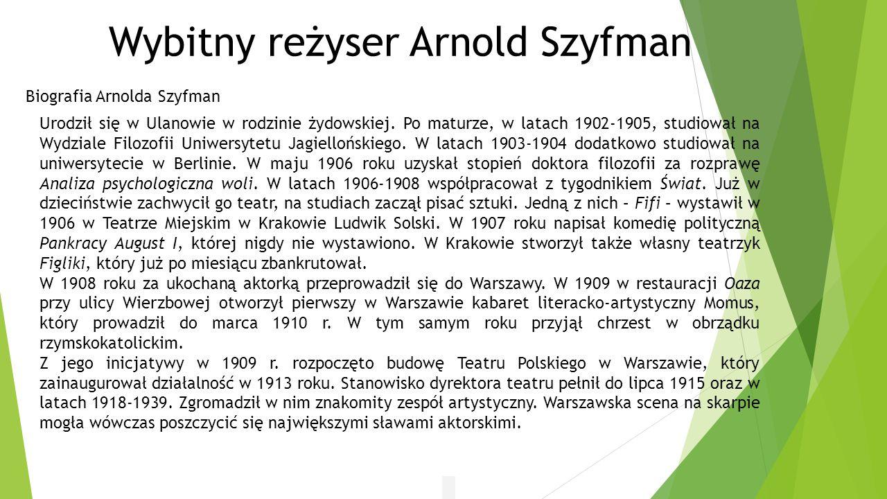 Wybitny reżyser Arnold Szyfman
