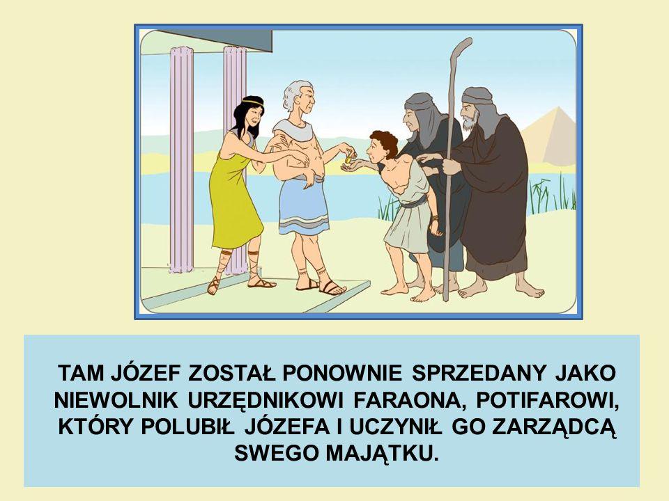 TAM JÓZEF ZOSTAŁ PONOWNIE SPRZEDANY JAKO NIEWOLNIK URZĘDNIKOWI FARAONA, POTIFAROWI, KTÓRY POLUBIŁ JÓZEFA I UCZYNIŁ GO ZARZĄDCĄ SWEGO MAJĄTKU.