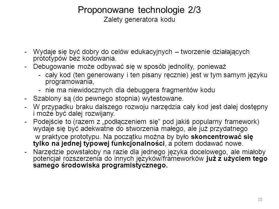 Proponowane technologie 2/3 Zalety generatora kodu