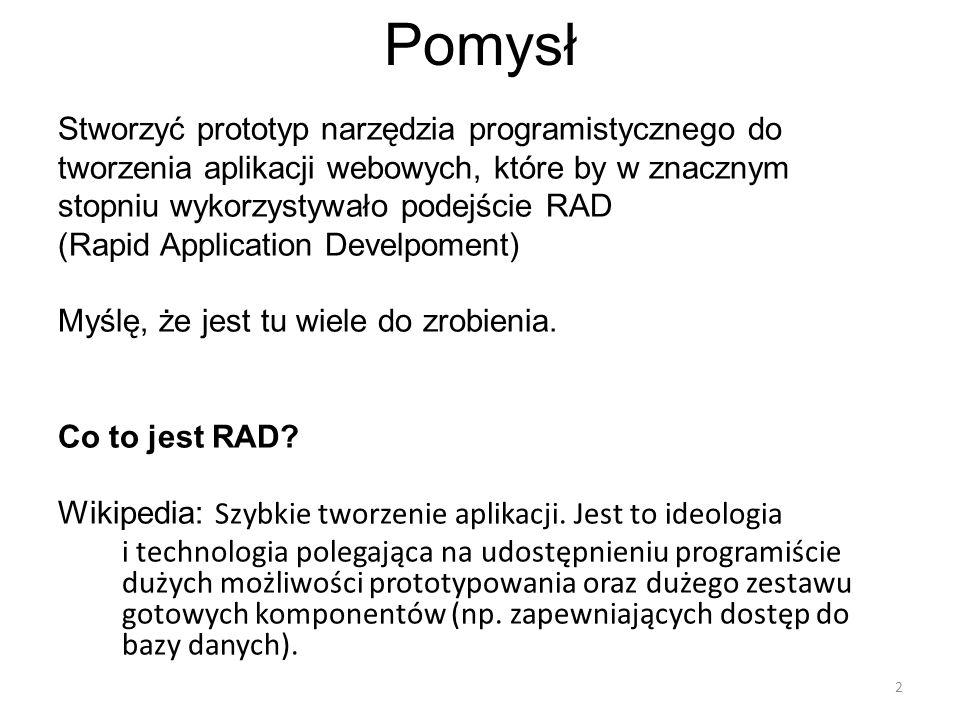 Pomysł Stworzyć prototyp narzędzia programistycznego do