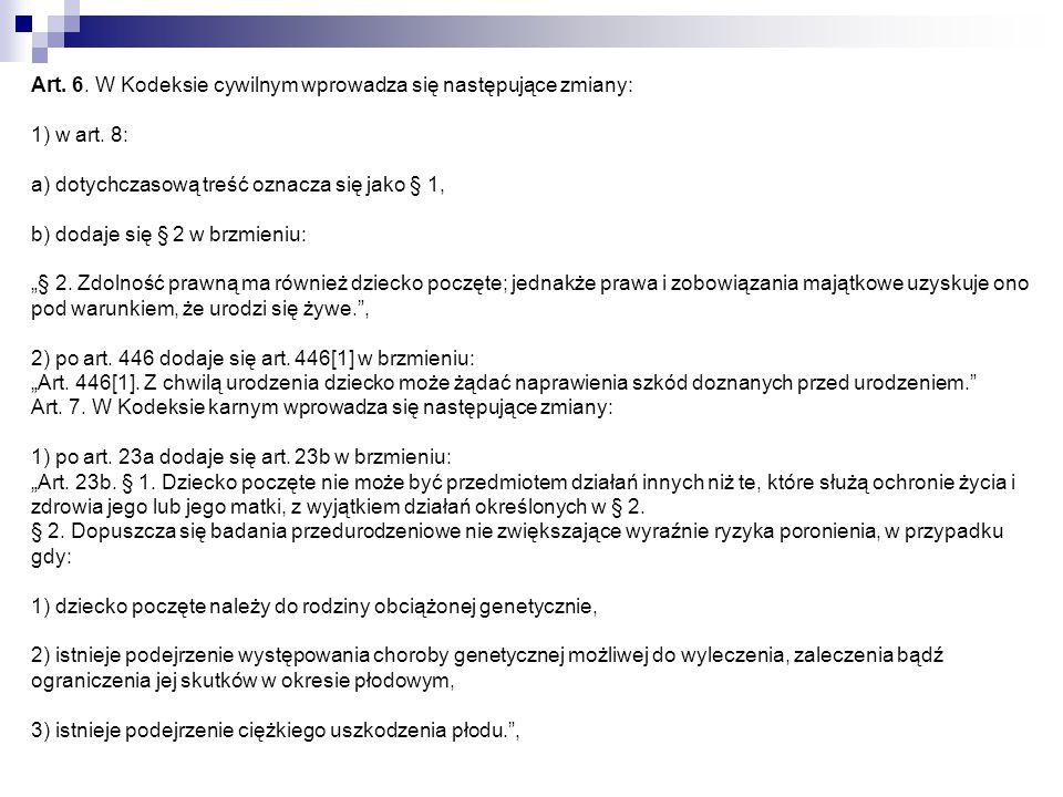Art. 6. W Kodeksie cywilnym wprowadza się następujące zmiany: 1) w art